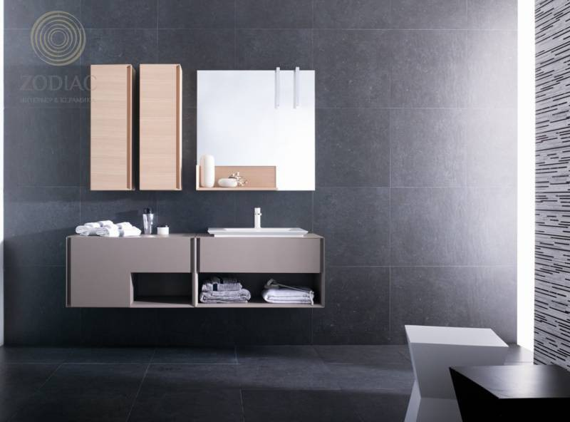 GAMA DECOR In Тумба 90х48х49 см по roble/relieve perla mate кремовый преламутр