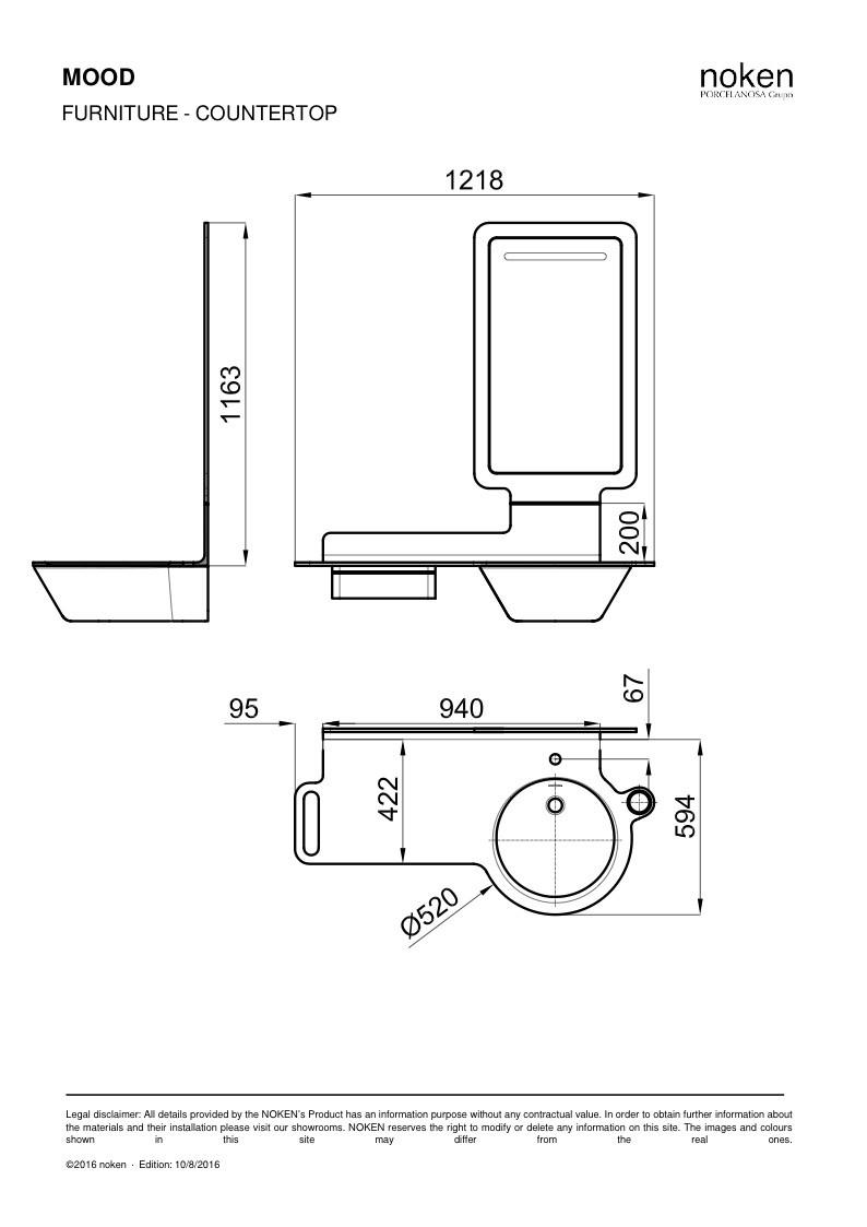 Комплект (раковина справа+столешница+зеркало+ящик) NOKEN Mood красный