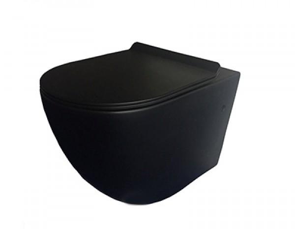 Унитаз черный подвесной безободковый + сиденье с микролифтом