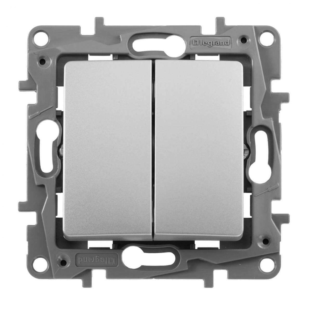 Выключатель двухклавишный Legrand Etika 10A 250V алюминий 672402