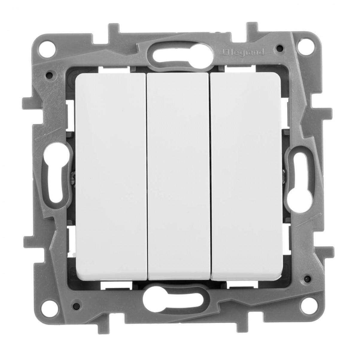 Выключатель трехклавишный Legrand Etika 10A 250V белый 672213