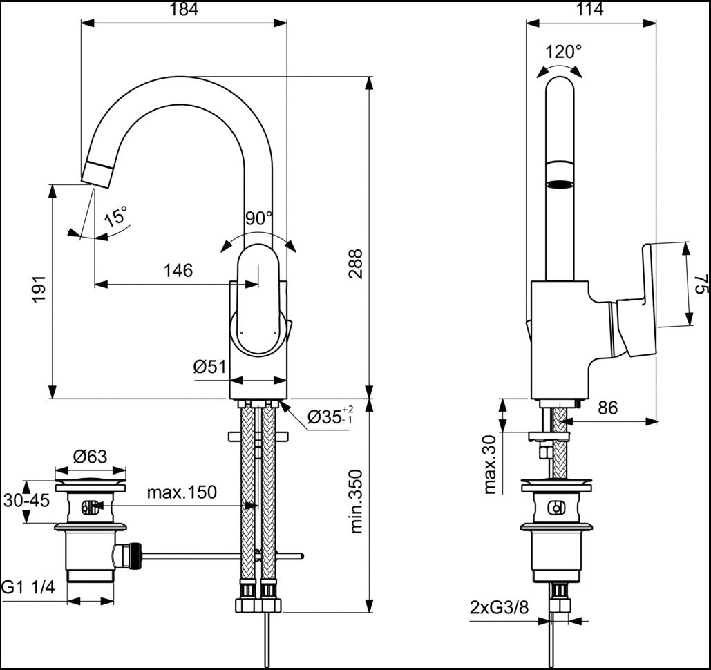 Смеситель Ideal Standard Vito B0410AA для раковины с высоким поворотным изливом