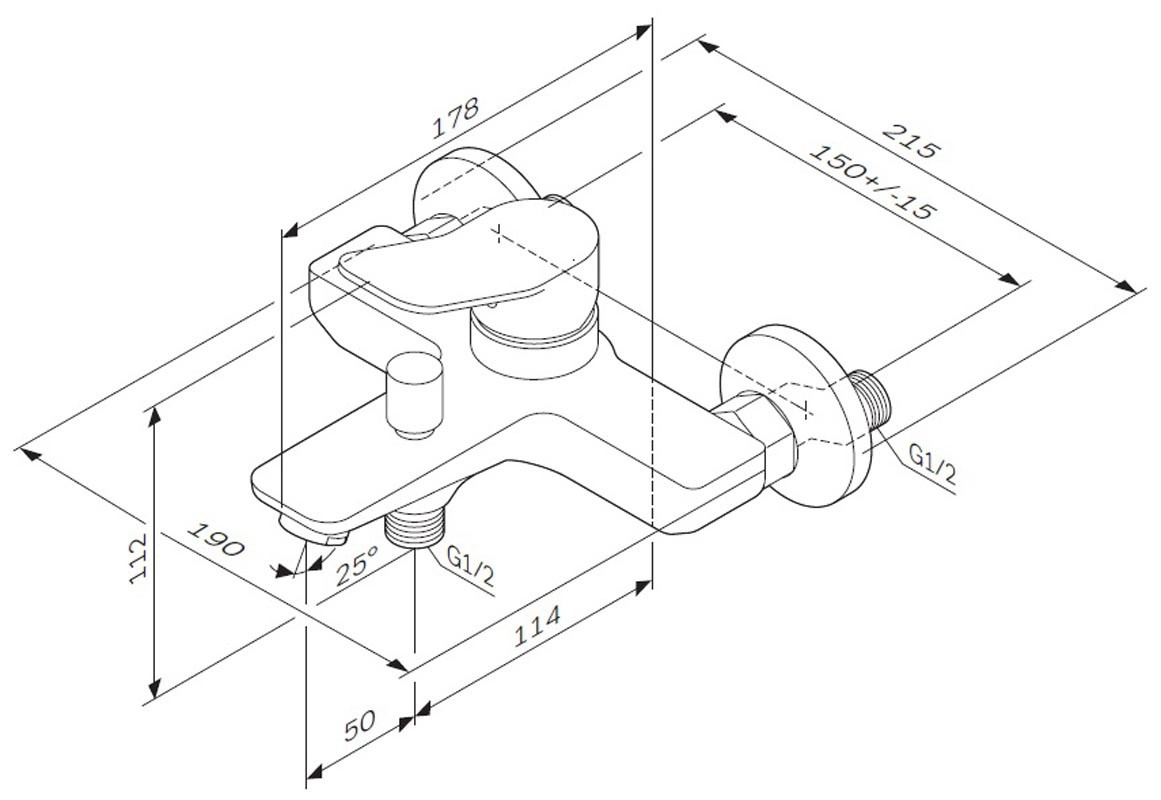 Смеситель AM.PM X-Joy F85A10000 для ванны и душа, хром