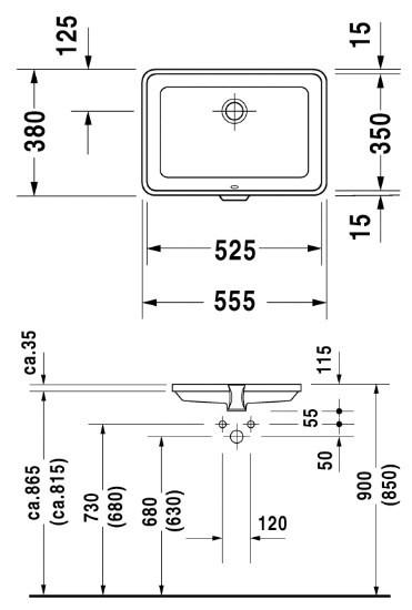 Раковина Duravit 2nd floor 0316530000, 55,5*38 см, врезная снизу