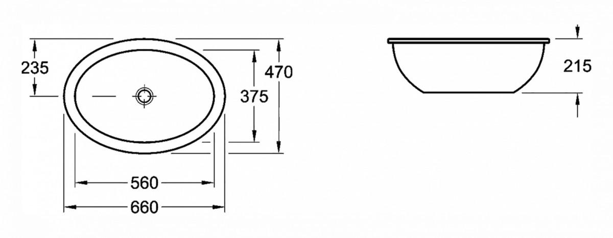 Раковина Villeroy&Boch Loop&Friends 61613001, 66 x 47 см, врезная снизу