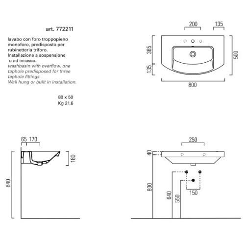 Раковина GSI Modo 772211 80 x 50 см