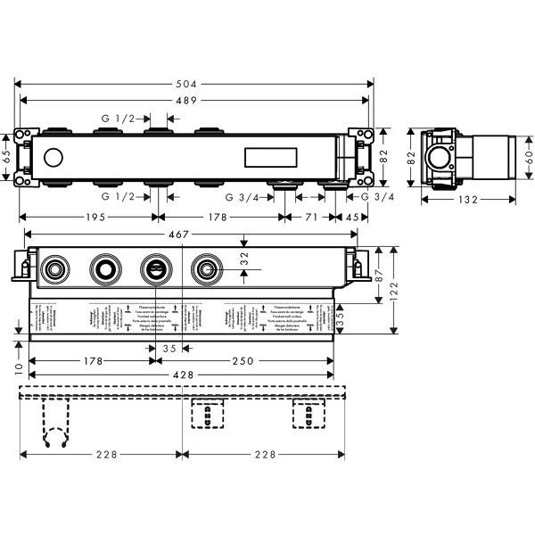 Скрытая часть смесителя AXOR Massaud 18310180, термостатического