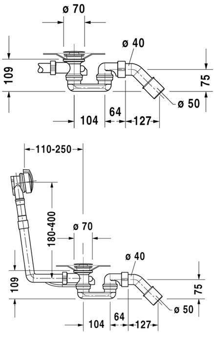 Слив-перелив Duravit Starck 790285000001000 (7902010000010)