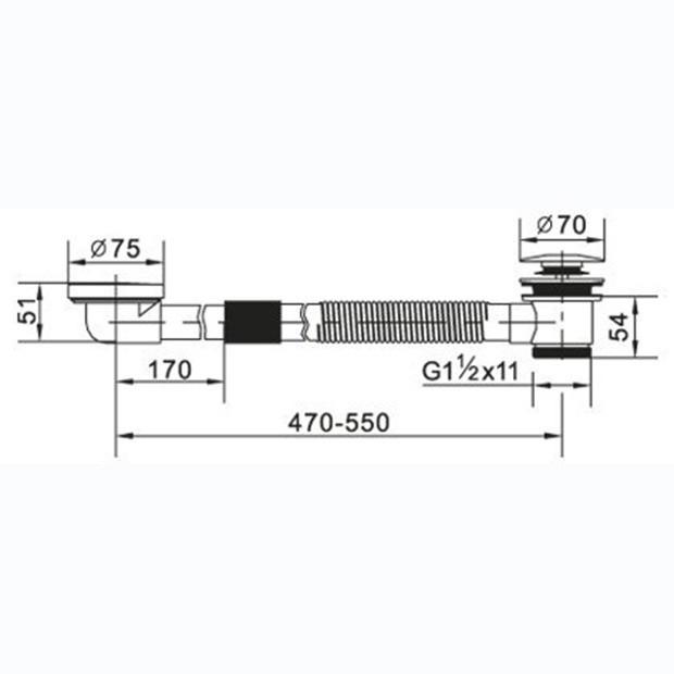 Слив-перелив Cezares для акриловой ванны медно-латунный CZR-STW1-01, хром
