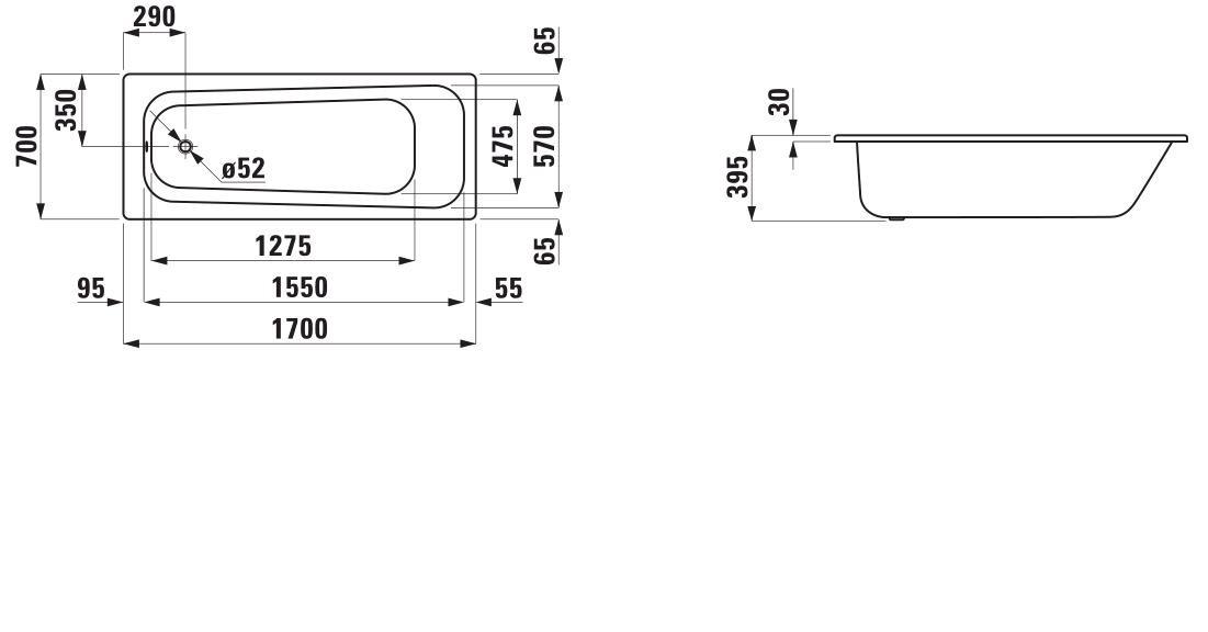 Стальная ванна Laufen Pro 2.2495.0.000.040.1 170 х 70 см без ручек