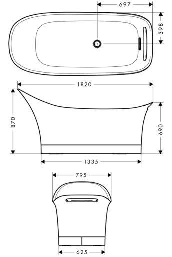 Ванна из литьевого мрамора Axor Urquiola 11440000, 180 x 80 см