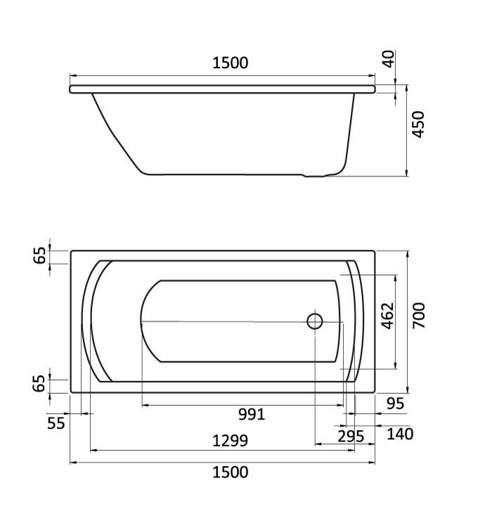 Акриловая ванна Santek Монако 1WH111976 150х70 см с монтажным комплектом 1WH112424