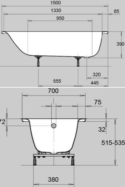 Стальная ванна Kaldewei Eurowa 1196.1203.0001, 150 х 70 х 39 см