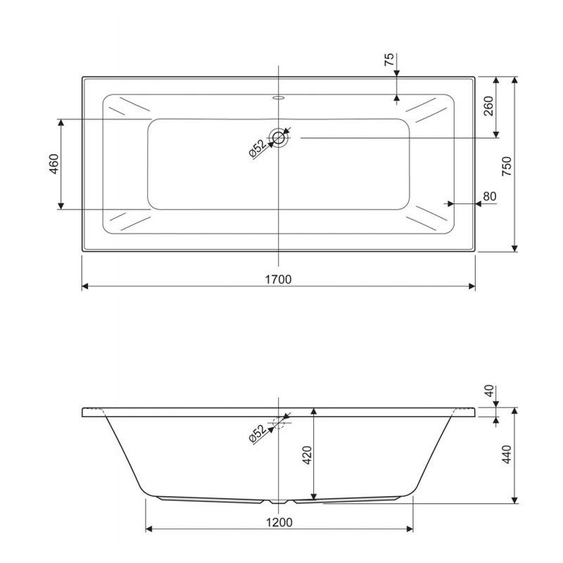 Ванна акриловая Cezares PLANE MINI-170-75-42 170 х 75 см