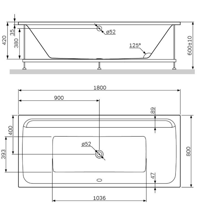 Акриловая ванна Am.Pm Inspire 2.0 W52A-180-080W-A, 180 x 80 см