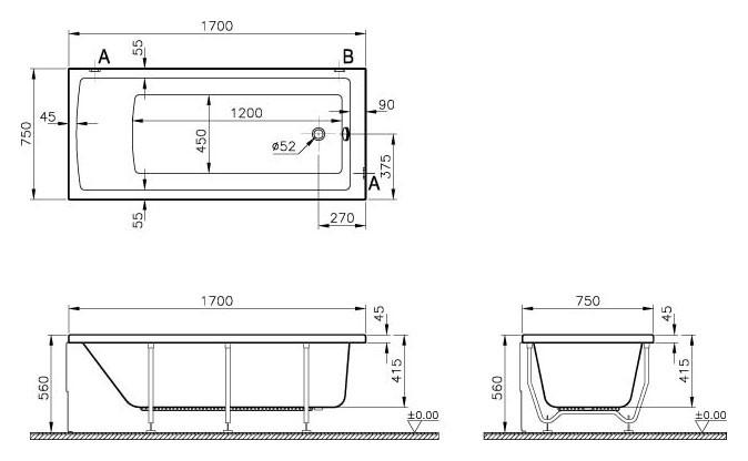 Акриловая ванна Vitra Neon 170 х 75 52280001000, левая/правая