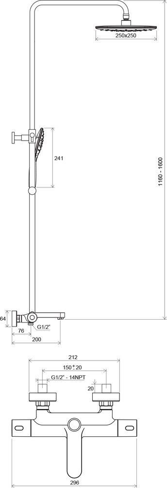 Душевая система с термосмесителем Ravak Termo TE 092.00/150
