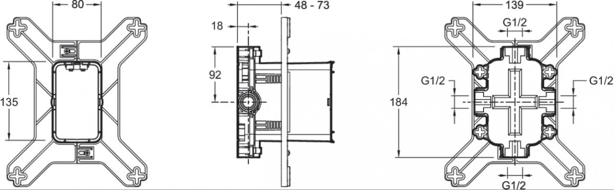 Универсальная система скрытого монтажа Jacob Delafon Modulo 98699D-NF для встраиваемых смесителей