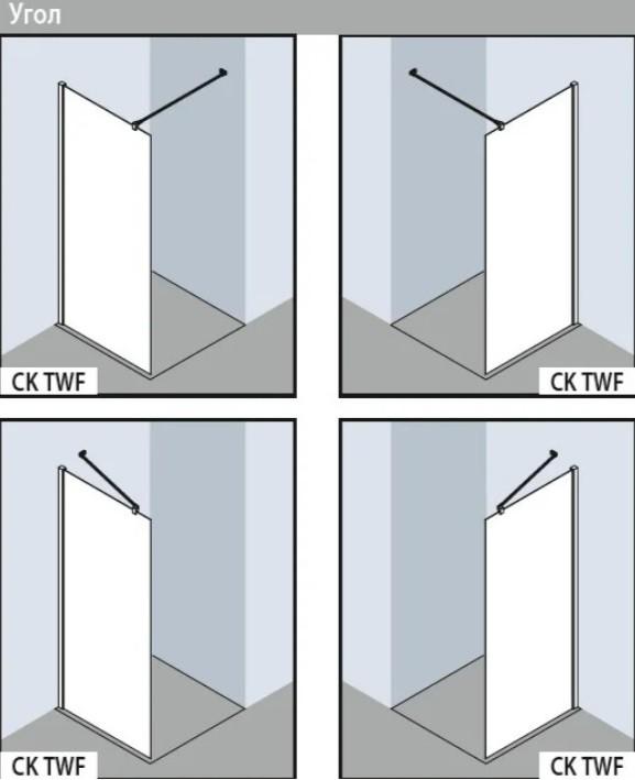 Отдельностоящая стенка Kermi Cada Xs CKTWF09020VPK 120 х 200 см, стекло прозрачное, хром