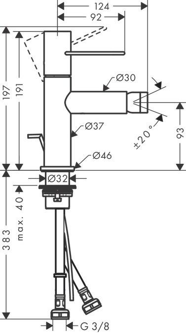 Смеситель для биде Axor Uno 38211820 с донным клапаном, шлифованный никель
