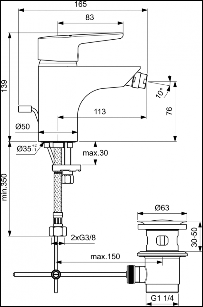Смеситель Ideal Standard Connect Blue B9920AA для биде