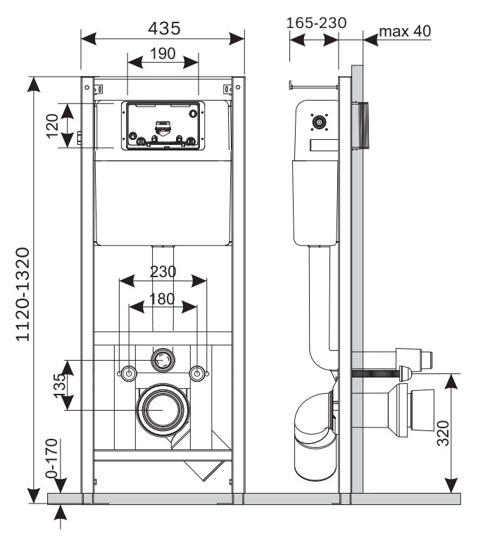 Инсталляция Am.Pm I012702 для подвесного унитаза (система монтажная)