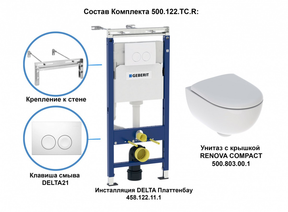 Инсталляция Geberit с безободковым унитазом Geberit Renova Compact, 500.122.TC.R, белая клавиша, сиденье микролифт, комплект Идеальная пара