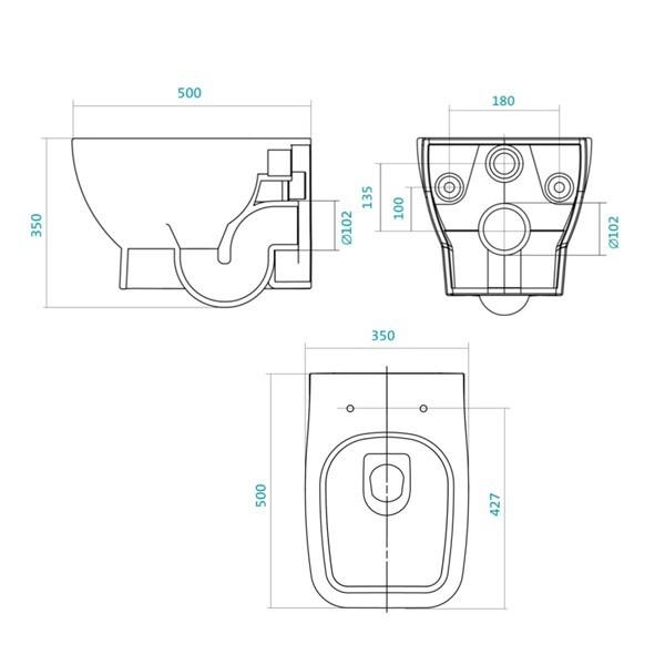 Унитаз Santek Нео 1.WH30.2.423 35x50 см подвесной, Soft Close, дюропласт