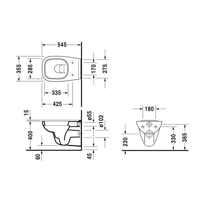Унитаз Duravit D-Code 45350900A1 (25350900002), подвесной с крышкой D-Code 0067390000 с микролифтом