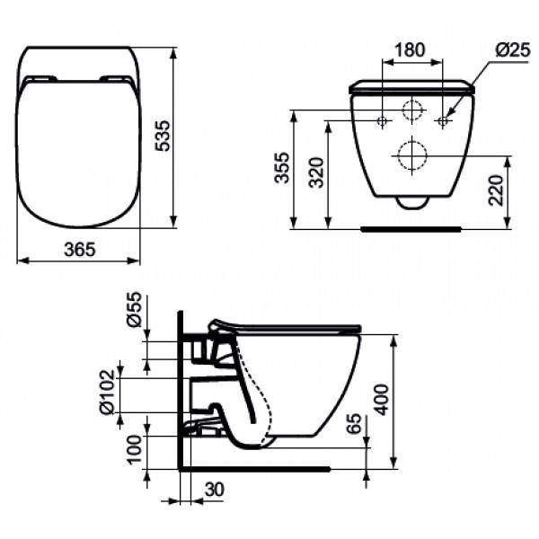 Унитаз подвесной, безободковый Ideal Standard Tesi Aquablade T007901
