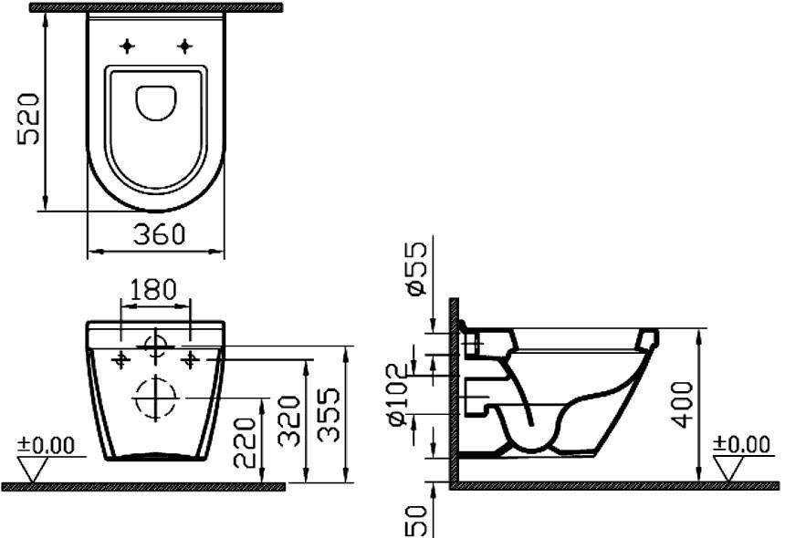Подвесной унитаз Vitra S50 5318B003-0075