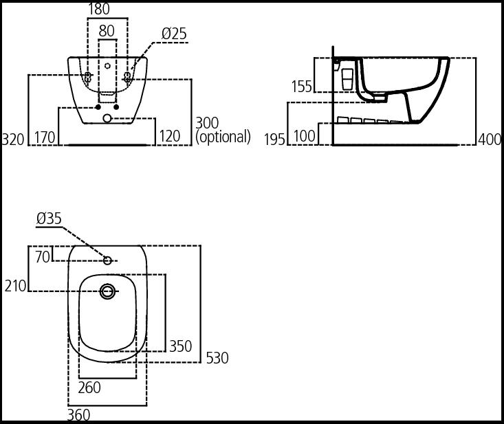 Биде Ideal Standard Tesi T355201, подвесное