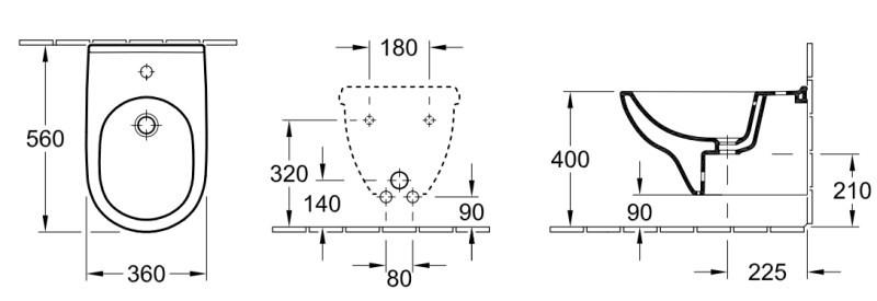 Биде Villeroy&Boch O.novo 5460 0001, подвесное