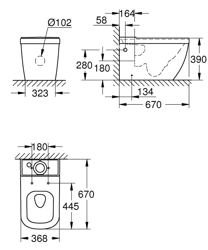 Унитаз компакт Grohe Euro Ceramic 39338000, безободковый