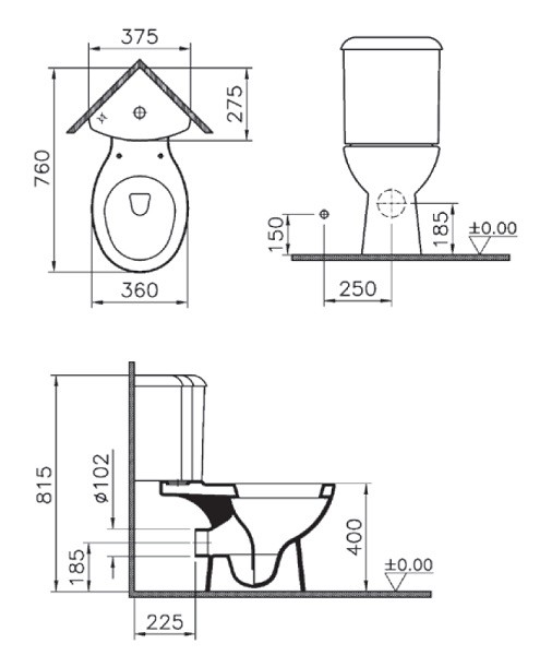 Унитаз компакт угловой Vitra Arkitekt 9754B003-7200 с крышкой стандарт