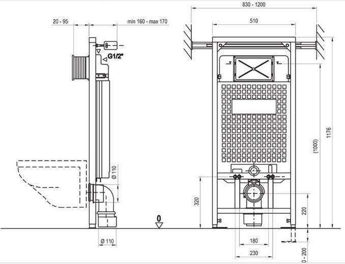 Инсталляция Ravak G/1200 X01459 для подвесного унитаза