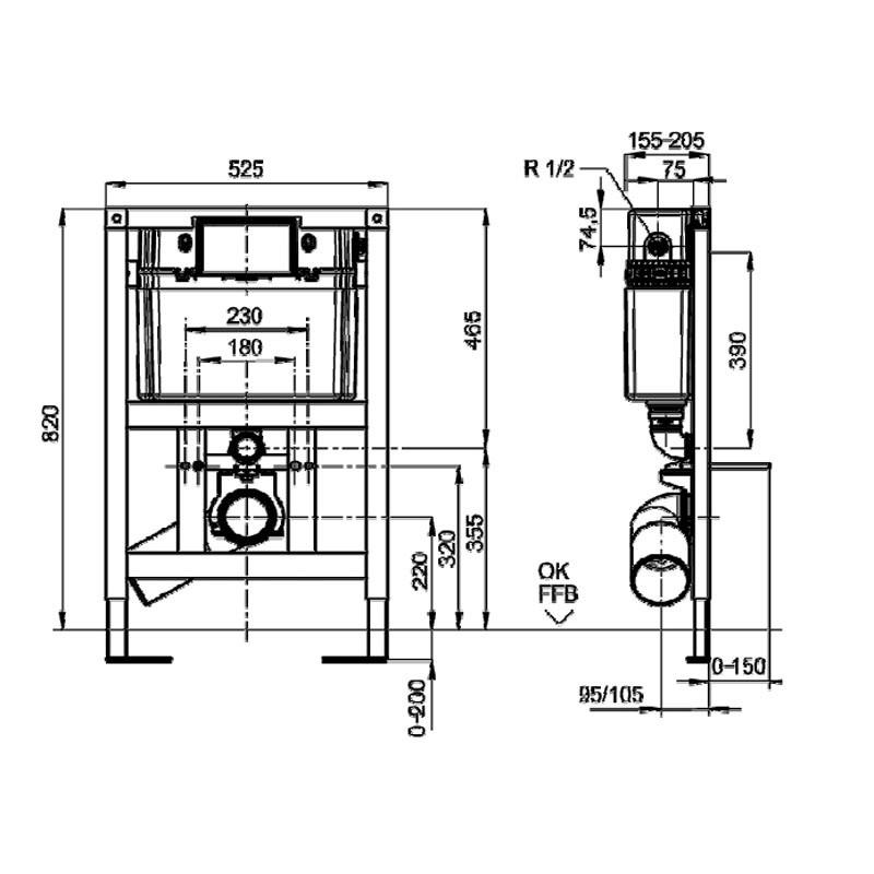 Инсталляция Villeroy&Boch ViConnect 9224 7500 для подвесного унитаза, низкая