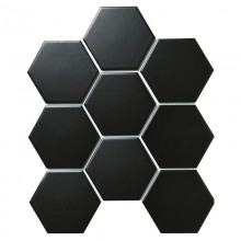 Мозаика Starmosaic Керамическая Hexagon big Black Matt