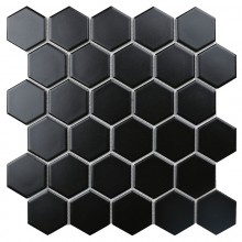 Мозаика Starmosaic Керамическая Hexagon small Black Matt