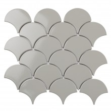 Мозаика Starmosaic Керамическая Fan Shape Light Grey Glossy